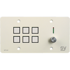 SY KP6VE Panel 6 knapper+Vol 147x86 Hvit LAN, 4x RS232/IR + I/O, TriColor
